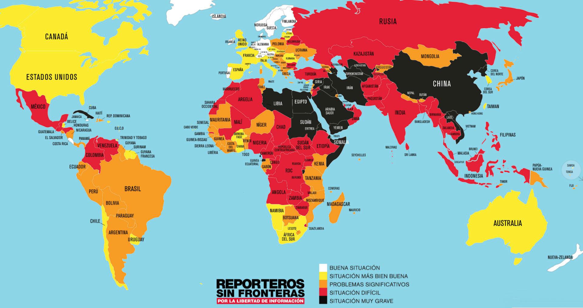 Mapa libertad de prensa